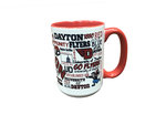 15 OZ. FROSTED WHITE CERAMIC MUG WITH RED HANDLE WITH UNIVERSITY OF DAYTON CAMPUS WRAP DESIGN FULL COLOR