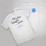 ERMA BOMBECK SS TEE LC CIRCLE LOGO BACK HE WHO LAUGHS LAST