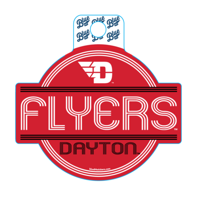 VINYL STICKER FLYING D LOGO FLYERS DAYTON STRIPES IN CIRCLE