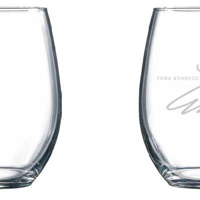 ERMA BOMBECK STEMLESS WINE GLASS