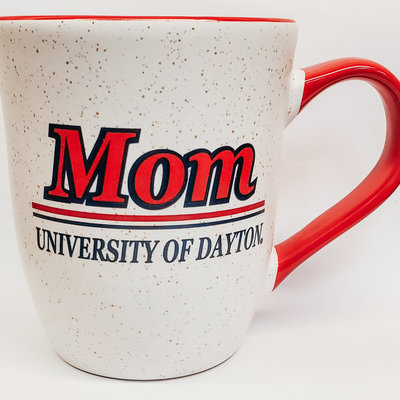 16 OZ GRANITE CERAMIC MUG MOM OVER TWO LINES OVER UNIVERSITY OF DAYTON