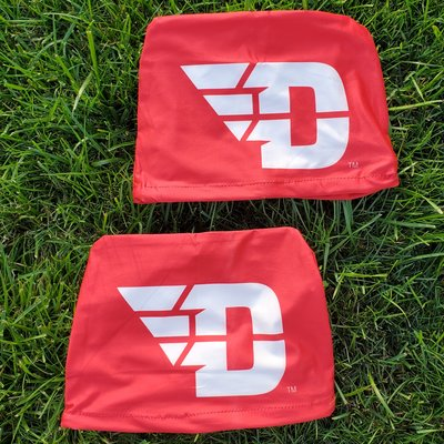 SET OF TWO HEADREST COVERS FLYING D LOGO