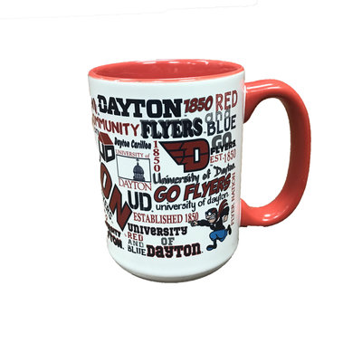 RFSJ® 15 OZ. FROSTED WHITE CERAMIC MUG WITH RED HANDLE WITH UNIVERSITY OF DAYTON CAMPUS WRAP DESIGN FULL COLOR