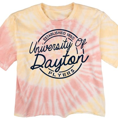 BLUE 84® CROPPED TIE DYE SS TEE CIRCLE GRAPHIC ESTABLISHED 1850 DAYTON SCRIPS FLYERS