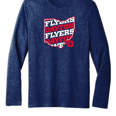 FLYER AUTHENTICS- LS TEE DAYTON FLYERS IN STATE OF OHIO OUTLINE FLYING D LOGO