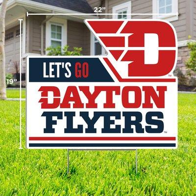 "CDI YARD SIGN LET'S GO DAYTON FLYERS FLYING D LOGO 19""H X 22""W"