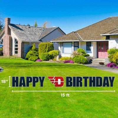"""CDI YARD SIGN HAPPY FLYING D LOGO BIRTHDAY 18""""H X 15'W"""