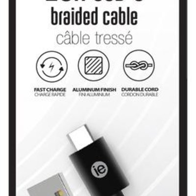 10FT USB-C BRAIDED CABLE BL